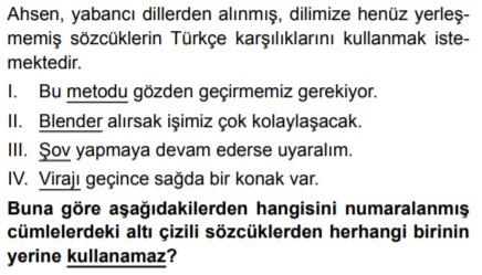 5. Sınıf Türkçe sözcükte anlam kazanım testleri