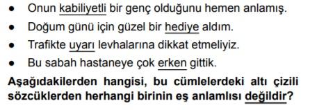 Türkçe sözcükte anlam testi çöz 5.sınıf