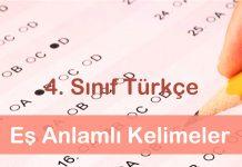 4. Sınıf Türkçe Eş Anlamlı Kelimeler Testi Çöz