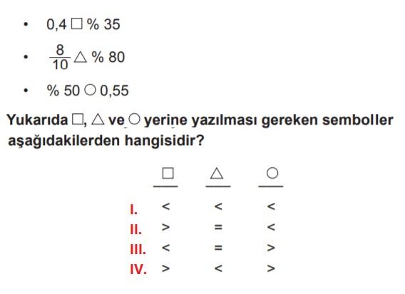 5. sınıf matematik testleri çöz yüzdeler konusu