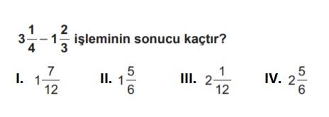 6.sınıf matematik testleri çöz kesirlerle işlemler soruları çöz