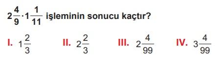 6.sınıf matematik kesirlerle işlemler testi çöz